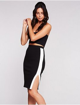 Single Stripe Bodycon Skirt by Charlotte Russe