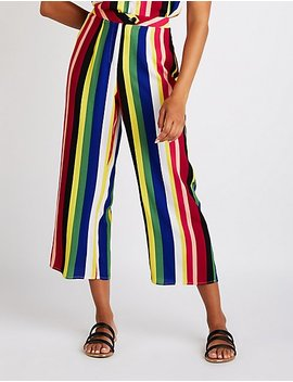 Rainbow Striped Culotte Pants by Charlotte Russe