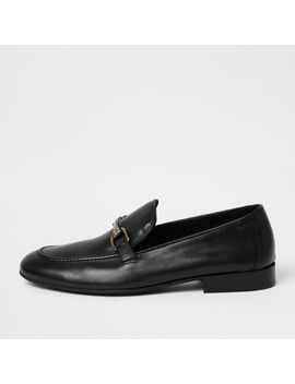 Black Leather Snaffle Loafers by River Island