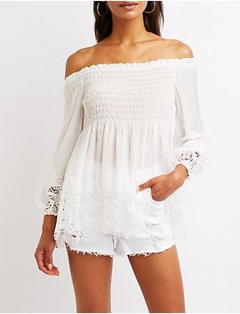 Crochet Trim Off The Shoulder Babydoll Top by Charlotte Russe