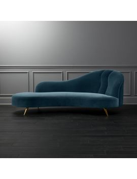 Copine Peacock Velvet Curved Chaise Lounge by Crate&Barrel