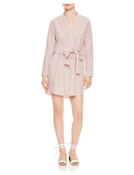 Franz Striped Tie Front Cotton Shirt Dress by Sandro