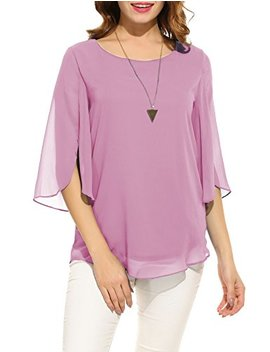 Hount Women Casual Loose Pullover Chiffon Blouse 3/4 Sleeve Solid Chiffon Shirt by Hount
