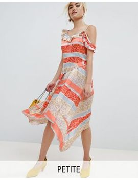 Lost Ink Petite Midi Dress With Tie Waist In Tropical Mix And Match Print by Lost Ink.