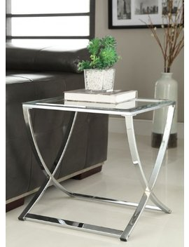 Chrome Finish Glass Chair Side End Table by E Home Products
