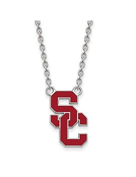 Solid 925 Sterling Silver University Of Southern California Large Pendant With Necklace (14mm) by Sonia Jewels