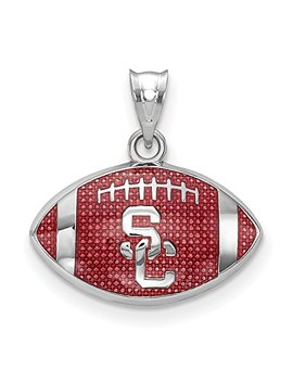 Solid 925 Sterling Silver University. Of Southern California Enameled Football Pendant (17.3mm X 18mm) by Sonia Jewels
