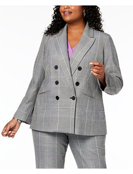 Plus Size Plaid Double Breasted Jacket by Nine West
