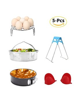 Instant Pot Accessories Set With Steamer Basket, Egg Steamer Rack, Non Stick Springform Pan, Steaming Stand, 1 Pair Silicone Cooking Pot Mitts 5 Pieces Fits 5,6,8 Qt Instant Pot Pressure Cooker by Joyorun