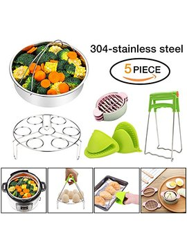 Instant Pot Accessories 6,8 Qt Steamer Basket With Egg Steamer Rack, Foldable Bowl Plate Dish Clip Clamp And Pair Of Silicone Mini Oven Mitts(5 Pieces) by G Aoa