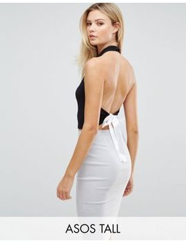 Asos Tall Exclusive Halter Neck Top With Cowl Front And Tie Back by Asos Tall