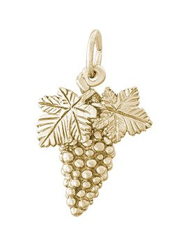 Rembrandt Charms 14 K Yellow Gold Grapes Charm On A 14 K Yellow Gold Rope Chain Necklace by Rembrandt Charms