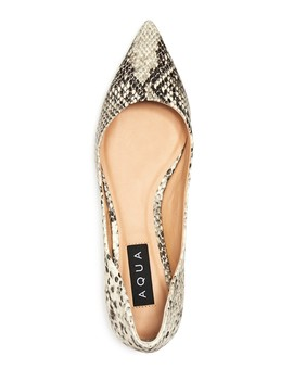 Women's Abel Snake Embossed Leather Pointed Toe Flats   100 Percents Exclusive by Aqua