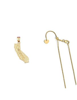 14 K Yellow Gold California Pendant On An Adjustable 14 K Yellow Gold Chain Necklace by Lava Fashion