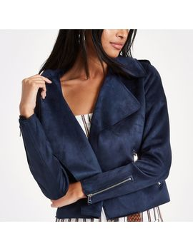 Navy Blue Faux Suede Cropped Trench Jacket by River Island