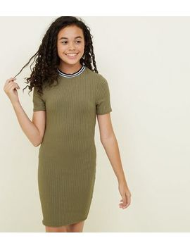 Girls Khaki Ribbed Stripe Neck Bodycon Dress by New Look