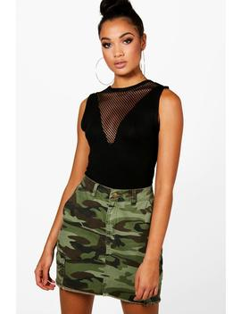 Tall Mesh Insert Bodysuit by Boohoo