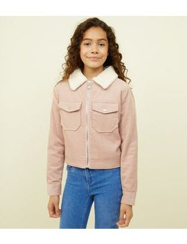 Girls Pink Corduroy Borg Collar Jacket by New Look