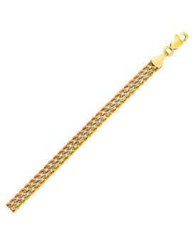 Tri Toned Multi Strand Rope Chain Bracelet In 10 K Yellow, White, And Rose Gold by California Certified Jewelers Inc.