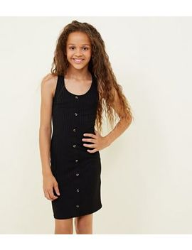 Girls Black Button Front Ribbed Bodycon Dress by New Look