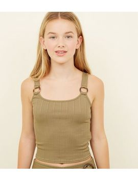 Girls Khaki Ring Strap Ribbed Cami by New Look