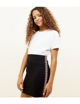 Girls Black Checkered Tape Tube Skirt by New Look