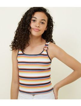 Girls White Stripe Ring Strap Ribbed Cami by New Look