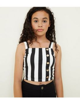 Girls White Stripe Crepe Button Cami by New Look