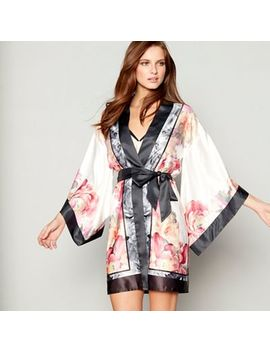B By Ted Baker   Light Pink Floral Print Satin 'painted Posey' Kimono Dressing Gown by B By Ted Baker