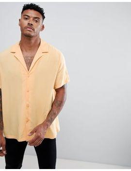 Asos Design – Oversized Viskose Hemd In Pfirsich Mit Tiefem V Ausschnitt by Asos Design