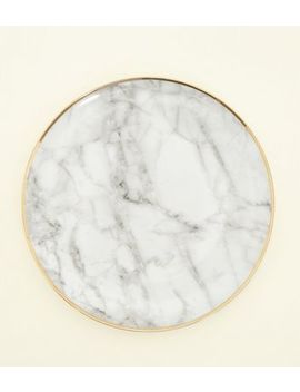 Dark Grey Marble Effect Plate by New Look