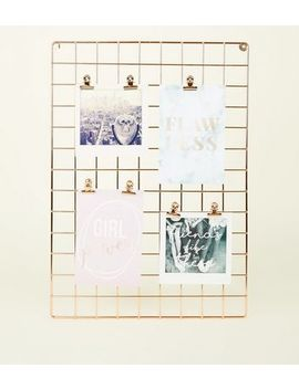 Pale Pink Grid Memo Board by New Look