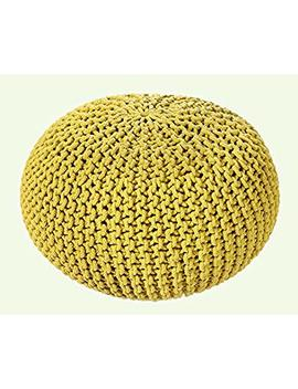 Ehc 100 Percent Cotton Handmade Double Knitted Round Foot With Stool Braided Cushion Pouffe, Orche by Amazon