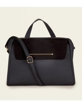 Black Leather Look Top Handle Tote Bag by New Look