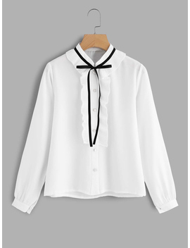 Frill Trim Tie Neck Shirt by Romwe