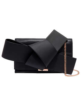 Ted Baker Asterr Leather Giant Knot Bow Evening Bag, Black by Ted Baker