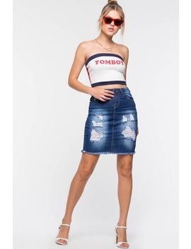 Sophia Denim Pencil Skirt by A'gaci