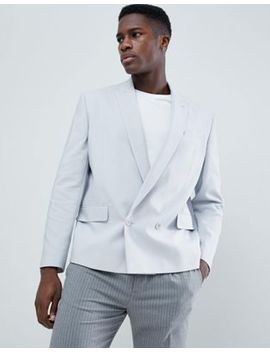 Asos Design Boxy Double Breasted Blazer In Ice Gray by Asos Design