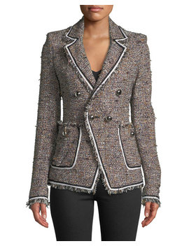 Theron Double Breasted Tweed Jacket W/ Frayed Trim by Veronica Beard