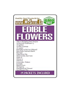 Edible Flowers Seeds Kit With 19 Varieties   Culinary Flowers From Seeds. Decoration For Cakes, Cupcakes, Soups & Salads   Non Gmo Seeds By My Seeds.Co (Edible Flowers Kit) by My Seeds.Co   Big Pack Seeds
