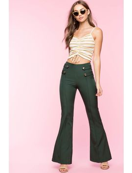 Button Tab Flare Trousers by A'gaci