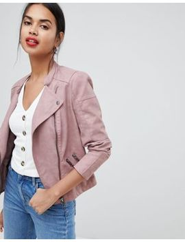 Only Faux Leather Biker Jacket by Only
