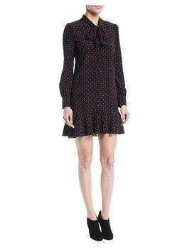 Linley Tie Neck Long Sleeve Dot Print Silk Dress by Veronica Beard