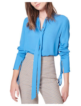 Remi Ruched Tie Neck Silk Blouse by Veronica Beard