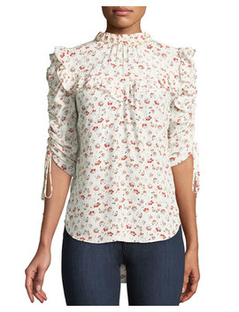 Howell Floral Print Silk Ruffle Top by Veronica Beard