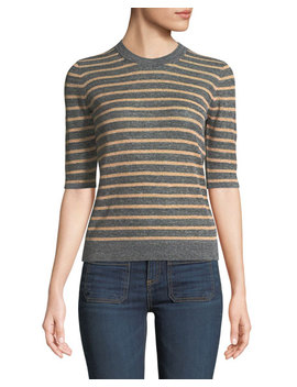 Dean Crewneck Striped Sweater by Veronica Beard