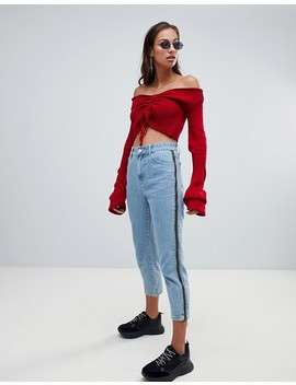 Pretty Little Thing High Waisted Zip Detail Mom Jeans by Pretty Little Thing