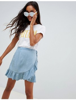 Asos Design Denim Wrap Skirt With Frill In Tencel by Asos Design