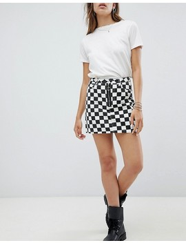Signature 8 Checkerboard Denim Mini Skirt With Zip Front by Skirt