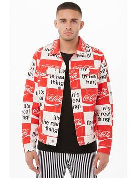 Checkered Coca Cola Graphic Denim Jacket by Forever 21
